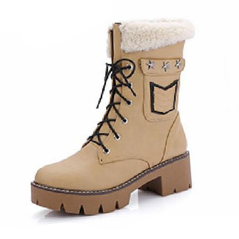 Large Size 34 43 Casual Shoes Woman Thick Heels Lace Up Boots For Women Fur Female