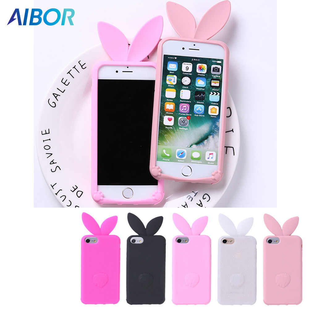 best deals on 4edfe 52aba 3D cartoon Cute long ears Rabbit Ear Case For iPhone 5 5S SE Soft Silicon  For iPhone X XS MAX XR 6 6S 7 8 PLUS beard cat Cover