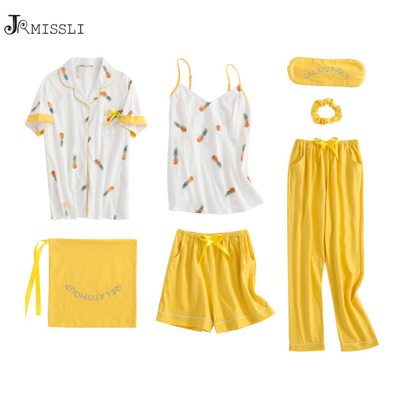 JRMISSLI   Pajamas   for Women Lace Yellow Cotton Pinapple Lingerie 7 Piece   sets     Pajama     Sets   2019 Summer Pijama Mujer Pyjama