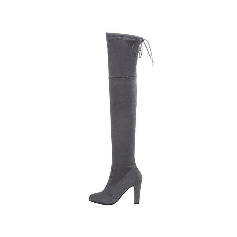 f07fbc3309b Thigh High Boots Women Suede Over the Knee Boots High Heel Sexy Party  Wedding Overknee Boots Fall Winter Shoes Black Grey-in Over-the-Knee Boots  from Shoes ...