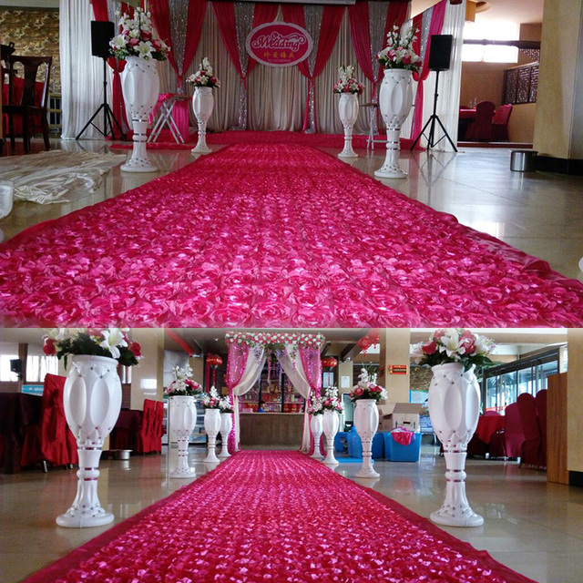 Flower Rose White Gold Red Wedding Carpet Runner Fabric Non Woven Decorations Backdrop