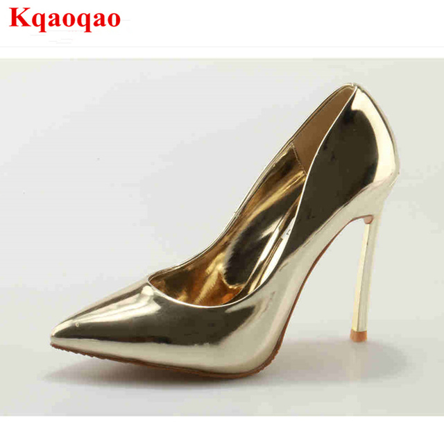 Pointed Toe Patent Leather Women Pumps High Thin Heel Slip On Shoes  Stiletto Wedding Party Bride Shoes Luxury Brand Star Shoe 345b8c0d465f