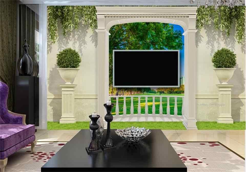 Custom 3d Photo Mural 3d Wallpaper Garden Terrace Grassl View