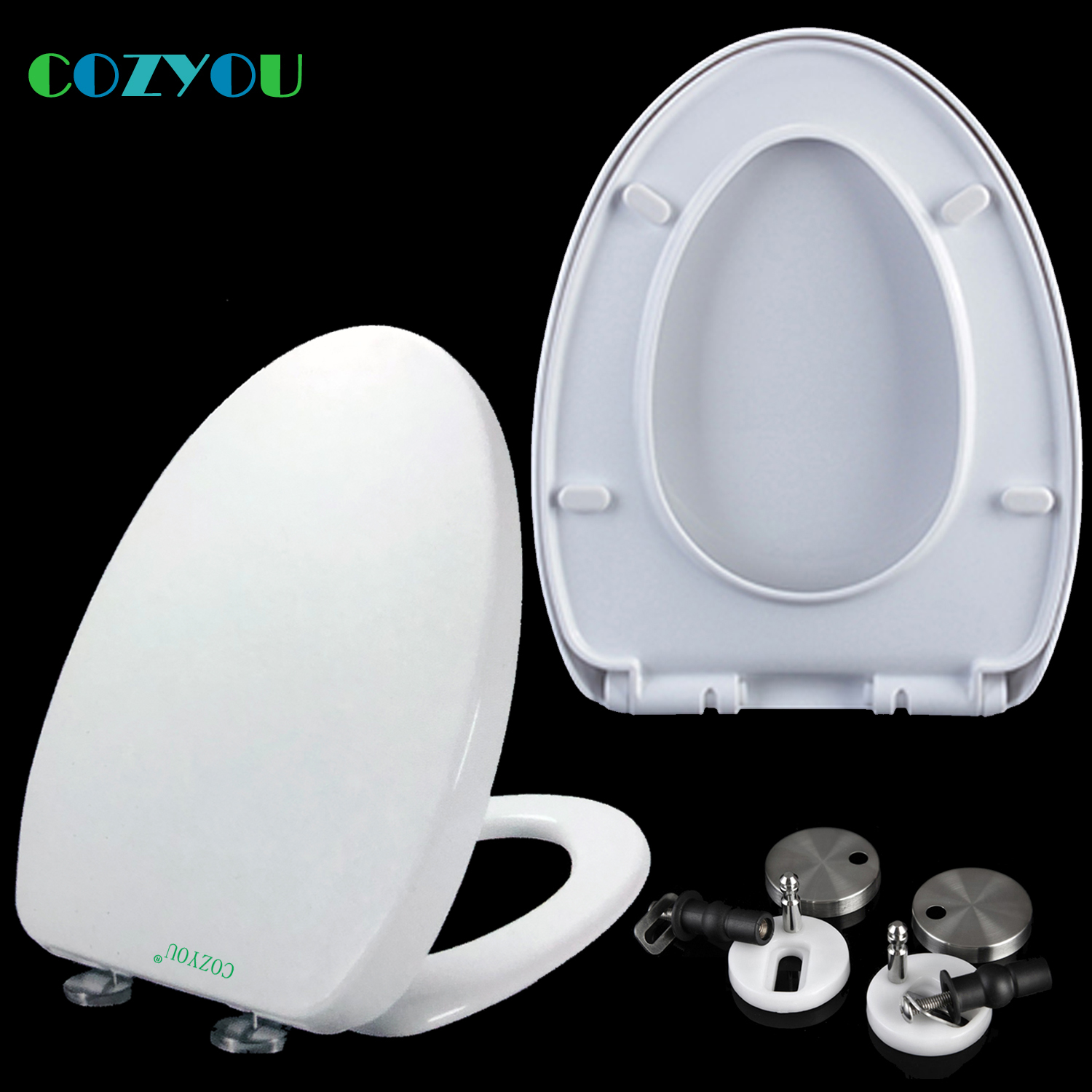 COZYOU PP Toilet seat V style soft Close Double button Quick-Release Length 450mm - 500mm Width 360mm - 370mm GBP17312SV