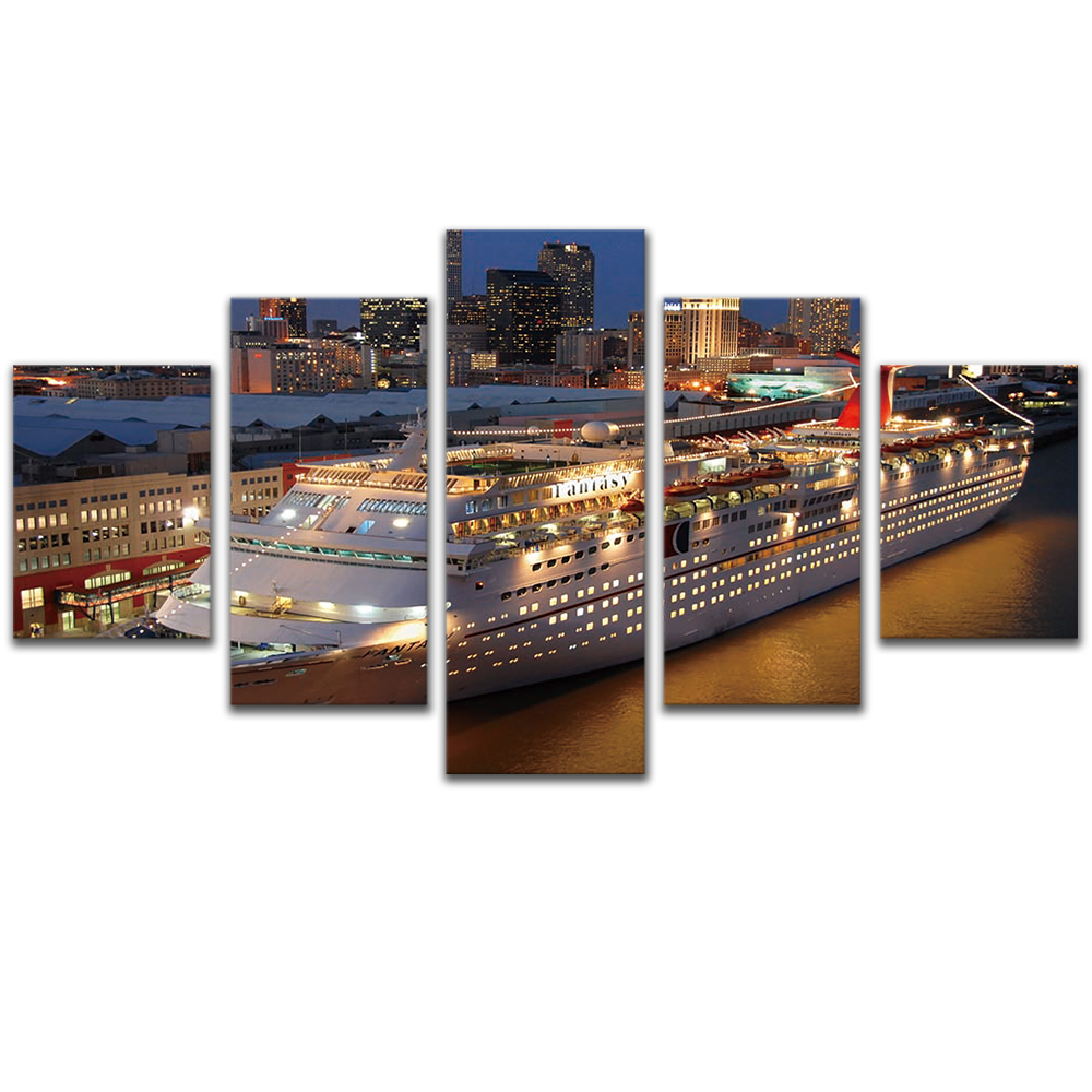 Unframed 5 HD Canvas Prints Night Cruise Ship Giclee Modular Picture Prints Wall Pictures For Living Room Wall Art Decoration