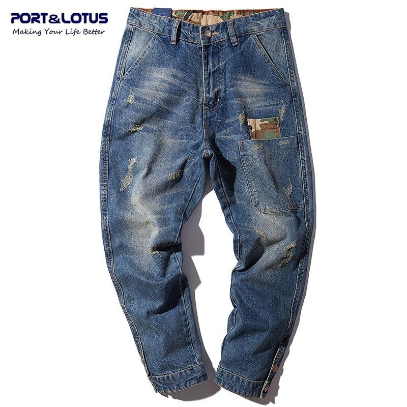 PORT LOTUS Jeans Men Cotton Cross pants Men Jeans Fashion Patchwork Brand Clothing Scratched Long Pants