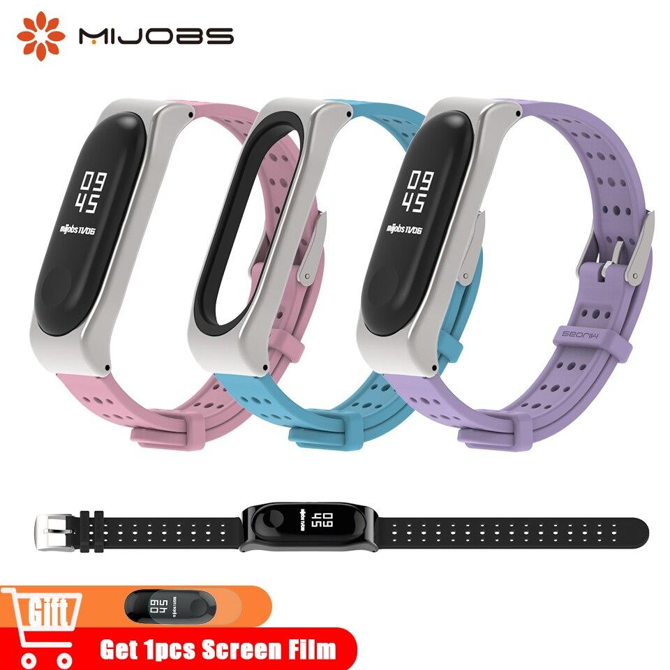 Mijobs Bracelet For Mi Band 3 Wrist Strap For Xiaomi Mi Band 3 Accessories Silicone Smart Band Watch Bracelet Wristband Miband 4