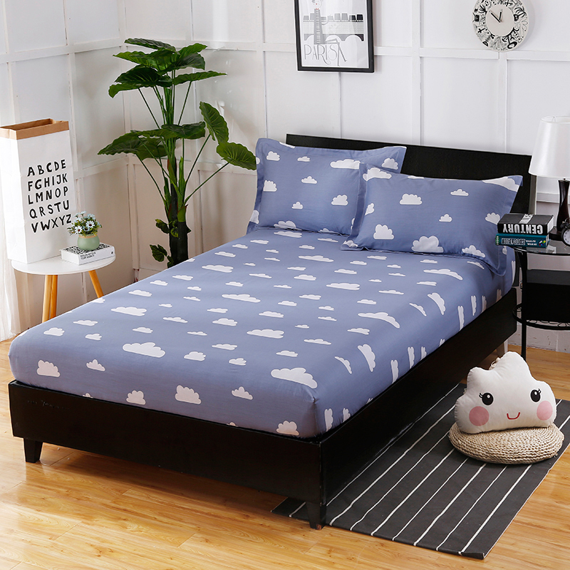 The Latest Hot Cotton Cloud Printing Pattern Fashion Home Bedding Three Comfortable And Soft Fitted Sheet+ Pillowcase