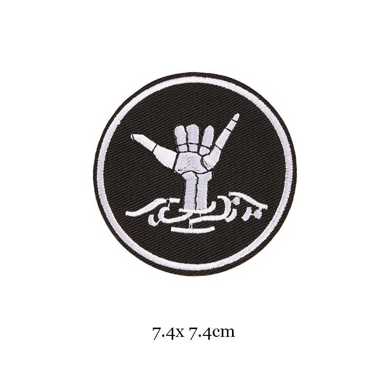 1 шт., черные, белые байкерские нашивки для одежды, железная одежда, аппликация с буквами, Череп, звезда, полосы, вышитая наклейка, круглый значок - Цвет: 29