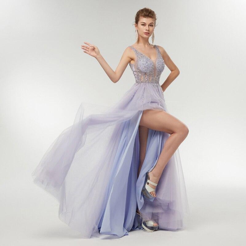Amant Baiser robe de soirée longue Sexy V cou Cristal Perlé Robes de soirée Fente De Luxe Voir À Travers Robe De Bal robe verser ceremonie