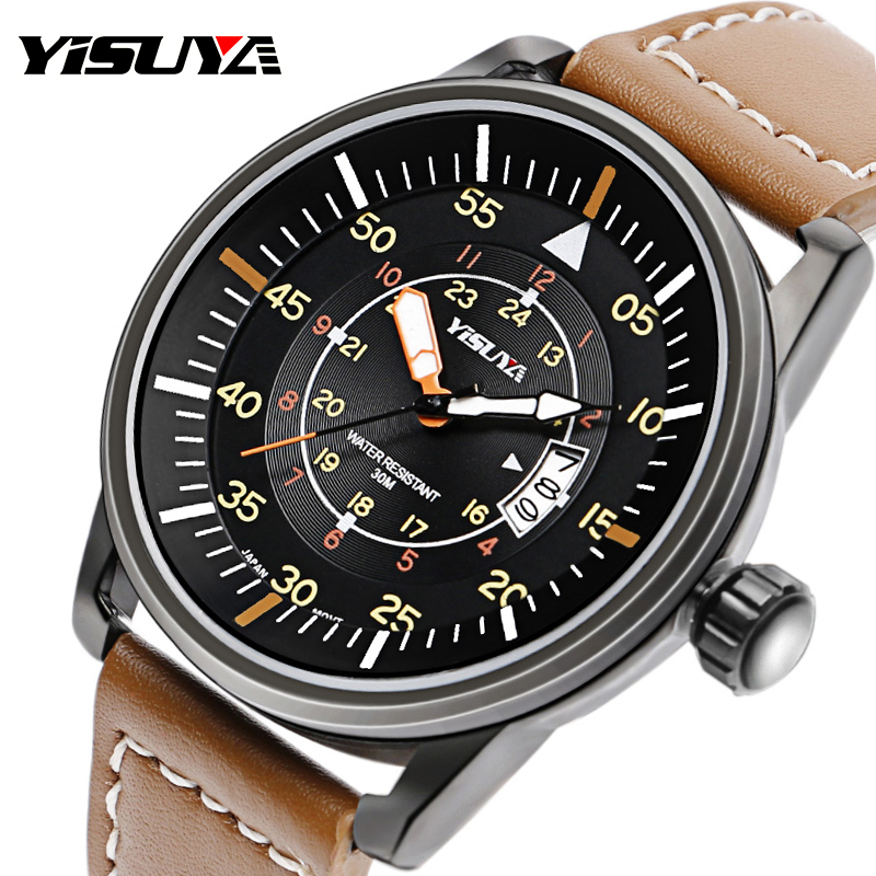 Mens YISUYA Sport Aviator Wrist Watch Date Japan Quartz Movement Military Leather Band Waterproof Watches Gift Relogio Masculino pattous mens sports watch black genuine leather chronograph dial date sport quartz watches miyota quartz wrist watch gift box