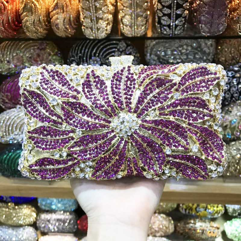 Bagaj ve Çantalar'ten Üstten Saplı Çanta'de Altın Gümüş Çiçek Çanta Elmas Kristal Kadın Parti Mini Çanta Fuschia el çantası Düğün Çantası SC752'da  Grup 1
