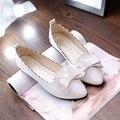 2016 primavera nuevas mujeres Coreanas zapatos planos de marea con arco en punta las mujeres los zapatos planos de deslizamiento de verano en pajarita linda zapatos sapatos