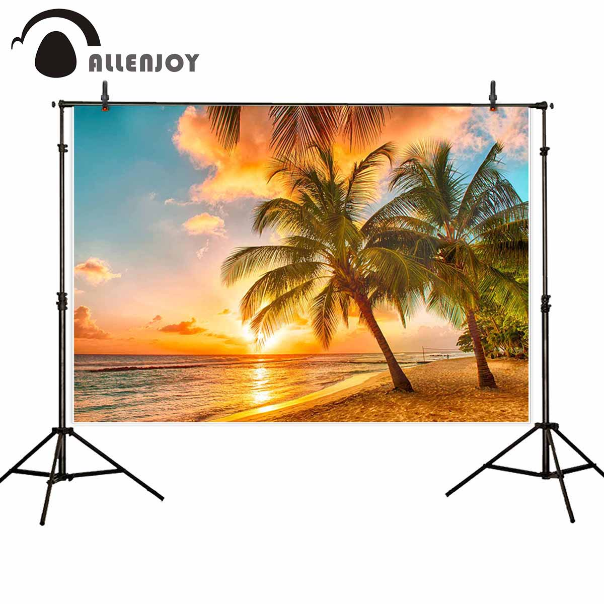 Allenjoy backgrounds for photography studio beautiful sunset sea palms trees beach caribbean island backdrop summer photocall