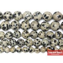 Cuentas redondas de jaspe de dálmata de piedra Natural, hilo de 15