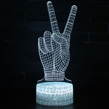 Color Changeable Victory Finger Gesture LED 3D Visual Illusion Night Light Creative Table Decoration Novelty Lamp Abajur