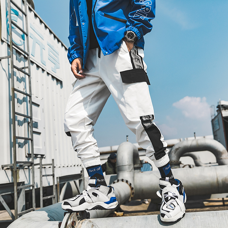 White Joggers Cargo Pants For Men Pockets Fashion Wide Hip Hop Summer Autumn Stripe Sweatpants Elastic