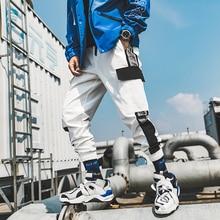 White Joggers Cargo Pants For Men Pockets Fashion Wide Hip Hop Summer Autumn Stripe Sweatpants Elastic