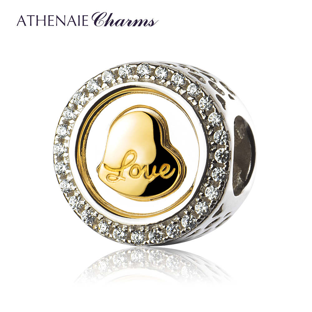 ATHENAIE 925 Silver with Pave Clear CZ Wonderful Love Heart Charm Fit All European Bracelets Necklace crystal stovall with all josie s heart