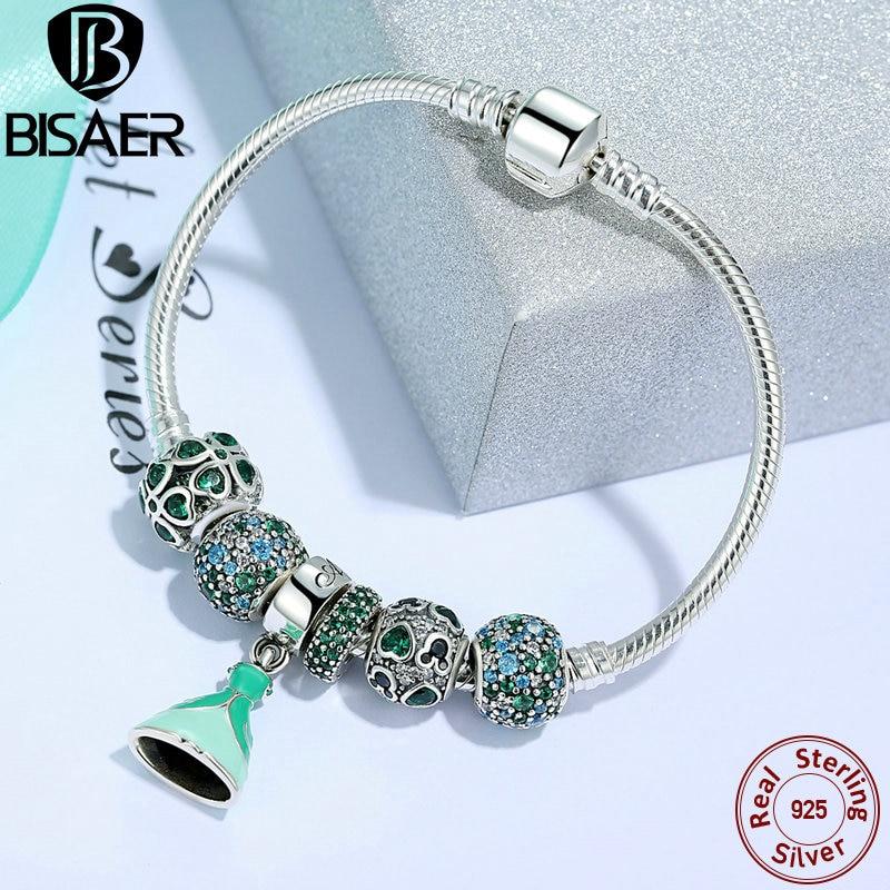 925 Sterling Silver Charm Link Bracelet & Bangle Love Heart Clover Princess Charm Bracelet For Women Valentine Day Jewelry Gift graceful multilayered pentagram charm bracelet for women