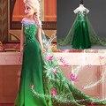 Año nuevo Vestido de Elsa Anna Cabritos de La Manga Larga Vestidos de Disfraces para Niñas Elegante Fiesta de Carnaval Traje de Los Niños Jurk Invierno 2016