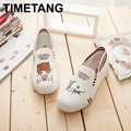 Hot Sale 2016 Autumn Women Hand Painted Canvas Shoes Cartoon Casual Flats Loafers Slip on Platform Creepers Size 35-44