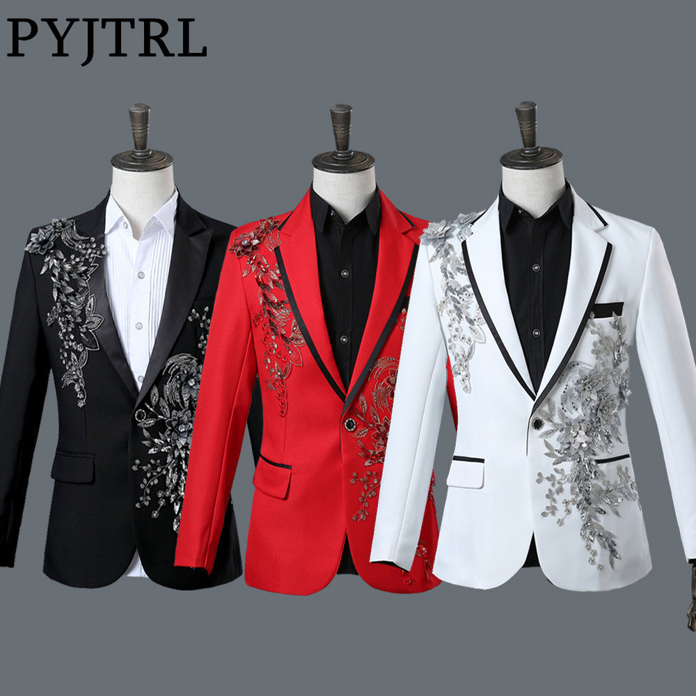 PYJTRL Male Double-side 3D Crystal Embroidery Flowers Stage Singer Nightclub Suit Jacket Tide Bar Mens Wedding Blazer Masculino