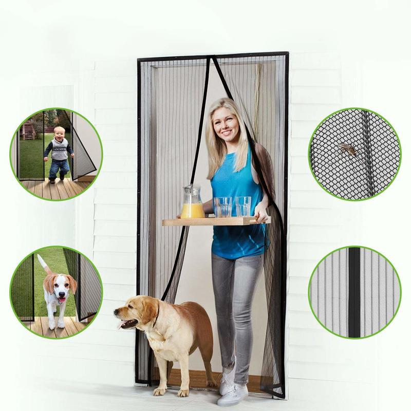 Screen Door Hands-Free Black  Mesh magnets For Pets STOP Bug Mosquito Fly
