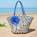 Bolso de verano un hombro tejido hecho a mano hierba verde de gran capacidad de bolsa de playa costera envío libre