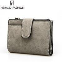 Herald Fashion Lady Letter Zipper Short Clutch Wallet Solid Vintage Matte Women Wallet Fashion Small Female