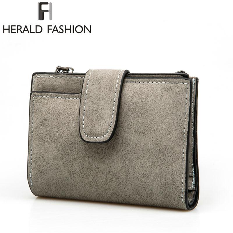 Herald Fashion Lady Letter Wallet Zipper Short Clutch Solid Vintage Matte Women Wallet Fashion Small Female Purse Short Purse