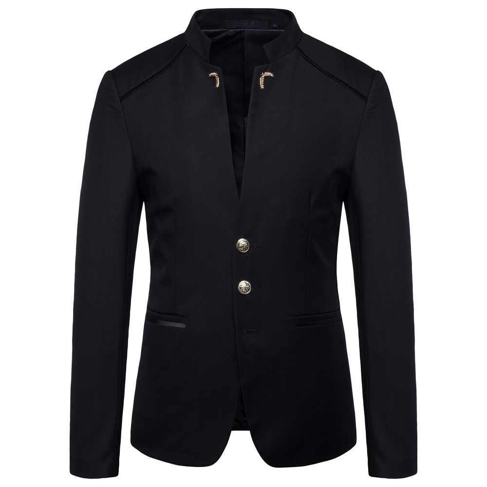 호 2020 봄 새로운 남성 패션 트렌드 스탠드 칼라 정장 단추 장식 양복