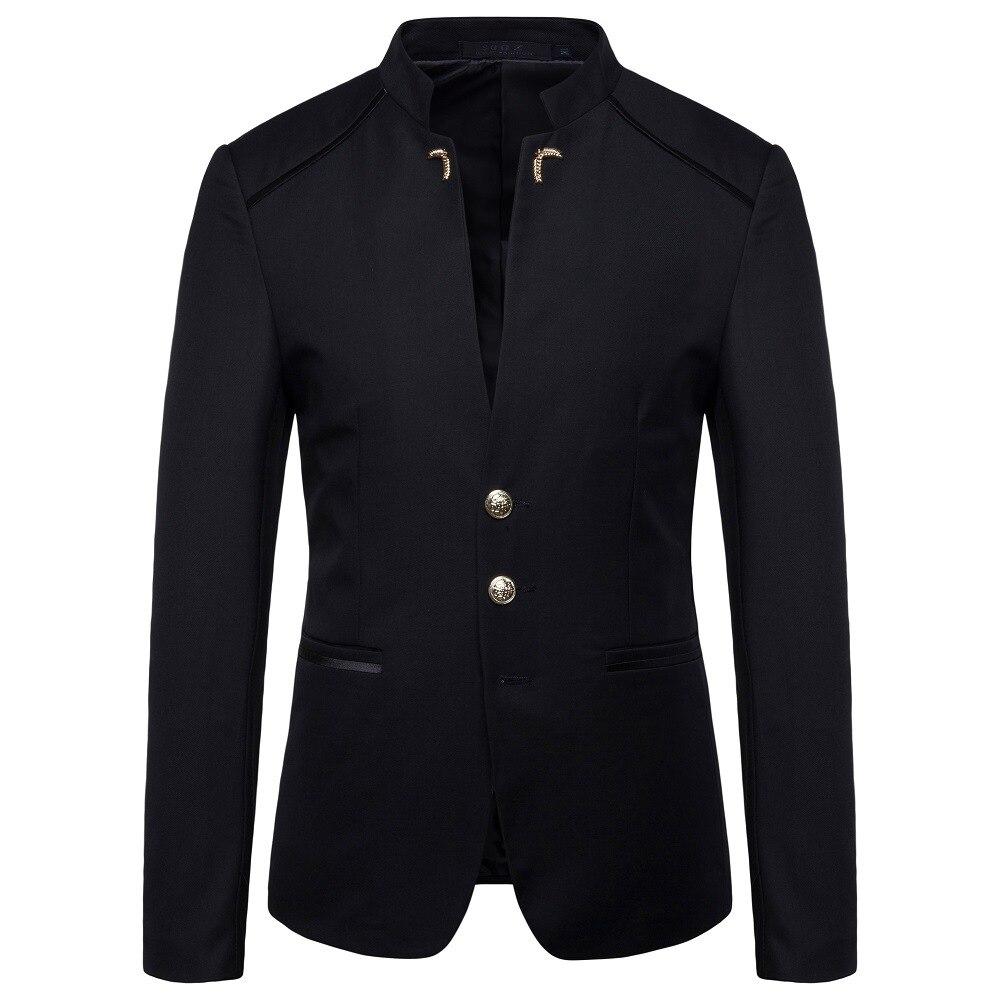 HO  2020 Spring New Men's Fashion Trend Stand Collar Suit Button Decoration Suit