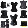 Acero Gótico negro Mujeres Sexy Lingerie Bustiers Negro Satén Bordado Del Corsé de Overbust Corsé + Tanga Más Tamaño