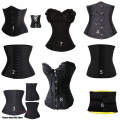 Black Gothic Women Sexy Lingerie Steel Bustiers Black Satin Embroidered Corset Overbust Corsets+Thong Plus Size