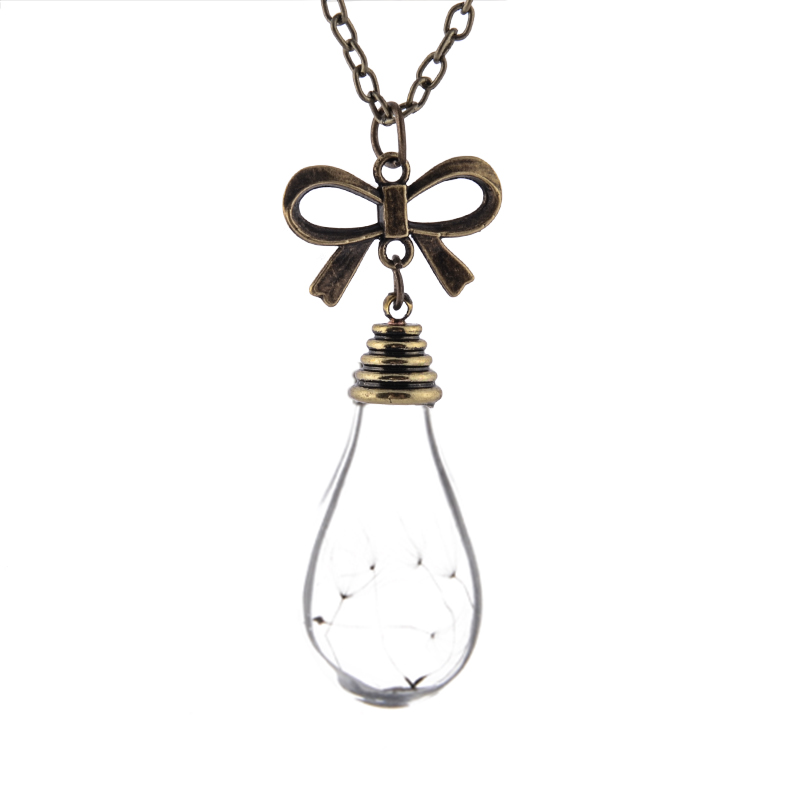 Bulb Bow Vial Necklaces Bronze in chain