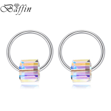 BAFFIN New Design Circle Piercing Earrings For Women Korean Style Cube Crystals From SWAROVSKI Stud Crystal Jewelry Gifts