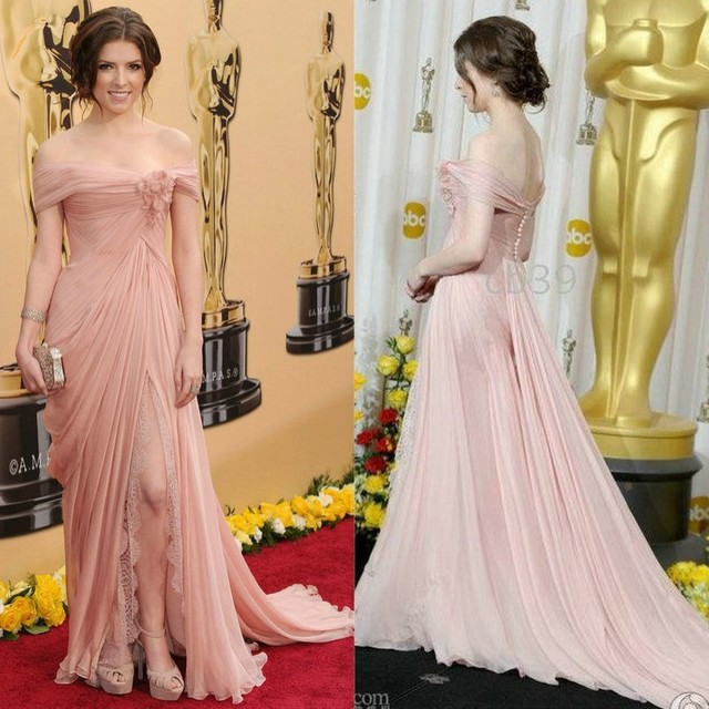 Off Shoulder Chiffon And Lace Por Anna Kendrick Oscar 2010 Celebrity Inspired Dresses Evening