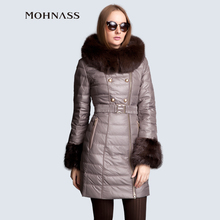 MOHNASS 2015 Winter jacket women Down Jacket Fashion Parka women Slim Winter Coat Woman blouses Hooded Fox Fur Collar 3A7147