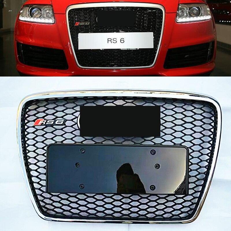 NoEnName_Null RS6 Style Noir Peint ABS Miel Style Avant Mesh Grill Grille pour Audi A6 S6 RS6 S-ligne 2009-2011