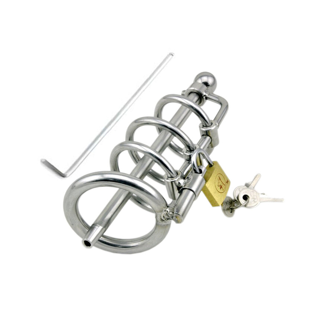 Stainless steel cock cage male chastity belt penis plug urethral sound chastity cage male chastity device sex toys sex products