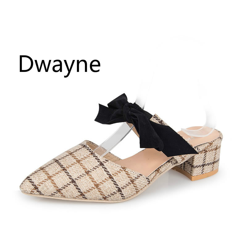 Dwayne 2019 Autumn Genuine Leather Bowknot Pointed Toe Flat Woman Slippers Slip On Butterfly Loafers Mules Flip Flops