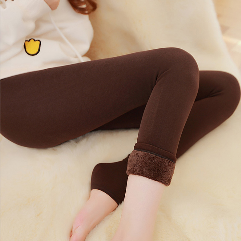 Image 4 - Autumn Winter Fashion Explosion Model Plus Thick Velvet Warm Seamlessly Integrated Inverted Cashmere Leggings Warm Pants-in Leggings from Women's Clothing