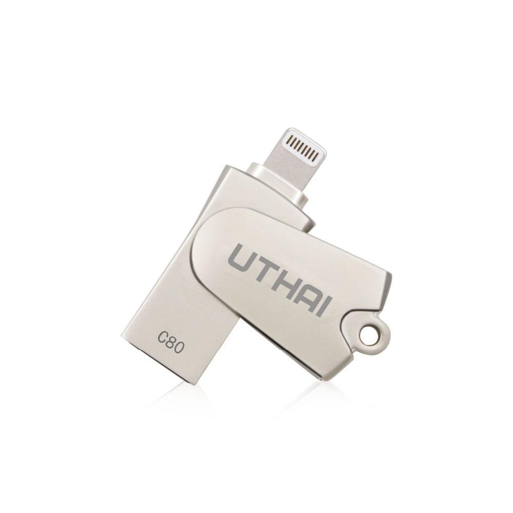 UTHAI C80 Relâmpago Micro SD/TF Card Reader OTG USB 2.0 Mini Leitor De Cartão de Memória para o iphone 6/7 /8 Plus iPod iPad Leitor de Cartão OTG