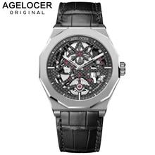 Swiss Mechanical Skeleton Man Watch AGELOCER Men Sport Watches Luminous Power Reserve 80H 50M Diver Wristwatch Relogio Masculino 機械 式 腕時計 スケルトン