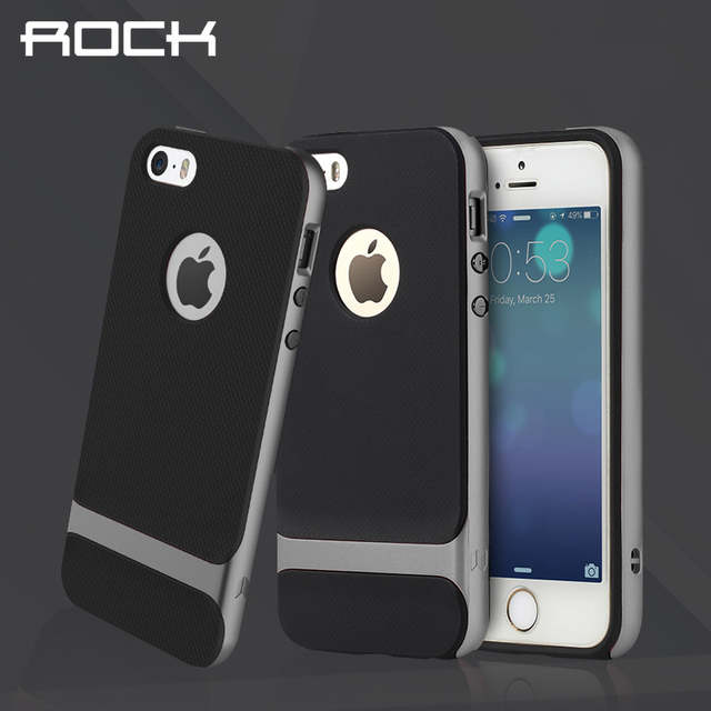 big sale 40ea3 d4356 For iPhone 5S ROCK Royce Series Phone Case For iPhone 5 Case for 5s Coque  for iPhone SE Back cover shell Protective Phone bag
