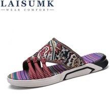 LAISUMK 2019 New Summer Mens High Quality Flip Flops Flat Sandals Shoes For Men Beach Man