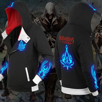 Assassins Creed Black Flag Unity Odyssey Cosplay Zipper Hoodie Luminous Fleece Velvet Jacket Coat Clothing