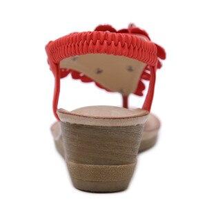 Image 5 - BEYARNE sandalias de cuña para mujer, chanclas bohemias Oxford con flor de cristal a la moda, sandalias de playa suaves étnicas 35 42E614