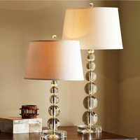 Luxury Modern LED crystal Table Lamps Contemporary crystal lighting Art Deco bedroom study LED Table Lamps with fabric lampshade
